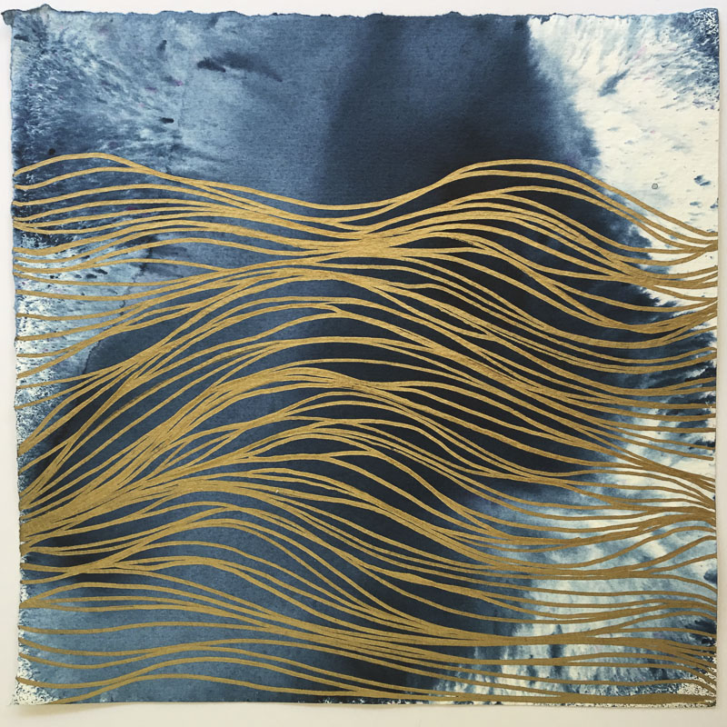 Emily Mann, Ink and Indigo, Indigo Shores 1, approx 9.75 x 9.75, metallic gold on abstract indigo on watercolor paper with deckled edge_1.JPG