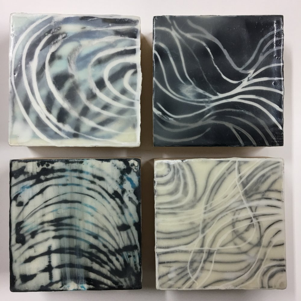 Emily Mann, Ink and Indigo, Hiss and Waves 1-4, encaustic on birch panel, 4x4x1.5deep .jpg