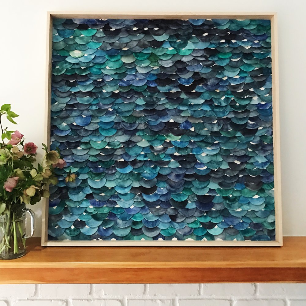 Emily Mann, Ink and Indigo, Swells and Shores Series, clay dimensional wall sculpture, 36x36in .jpeg