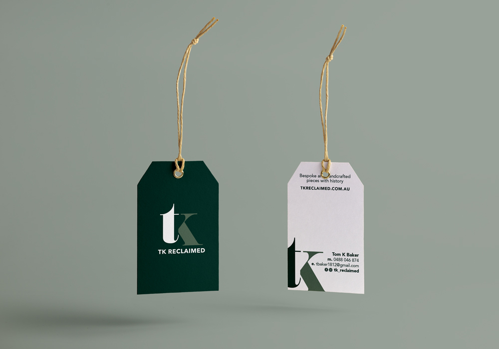 TK reclaimed brand business card