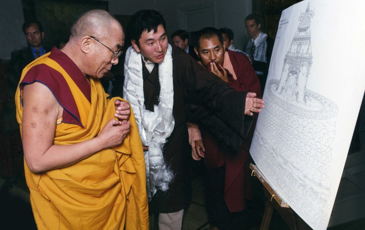 Pema Namdol presenting the concept design of Zangdok Palri to His Holiness the Dalai Lama