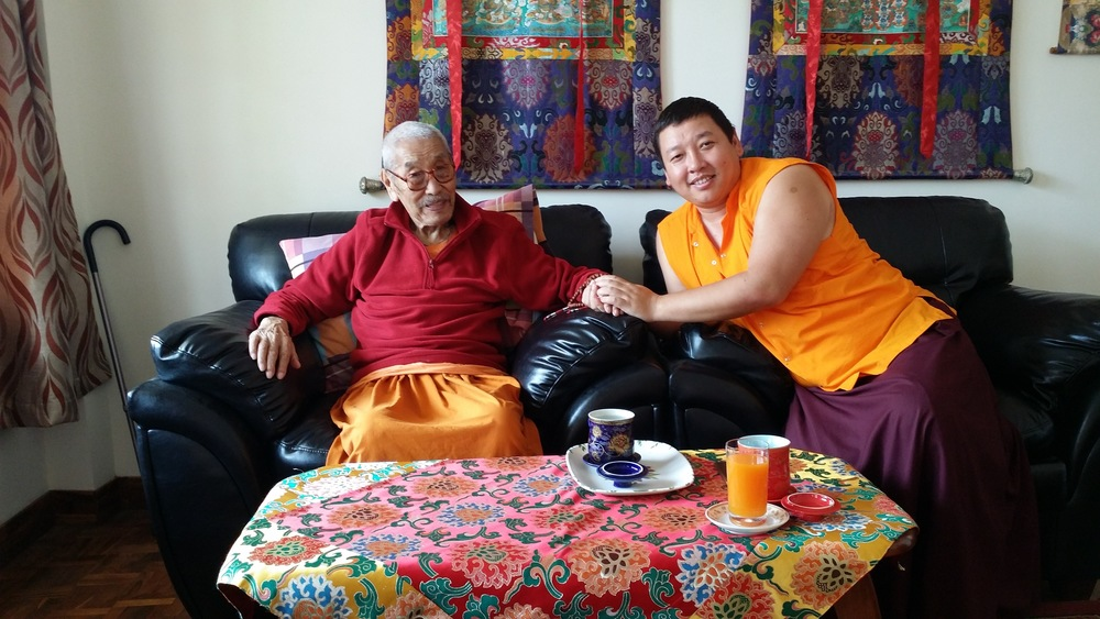 Lama Gonpo with Shingdu Tulku, the current Abbot of Zangdok Palri Monastery, Kalimpong, India (2015)