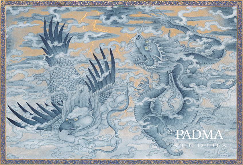 Sky power animals: garuda and dragon