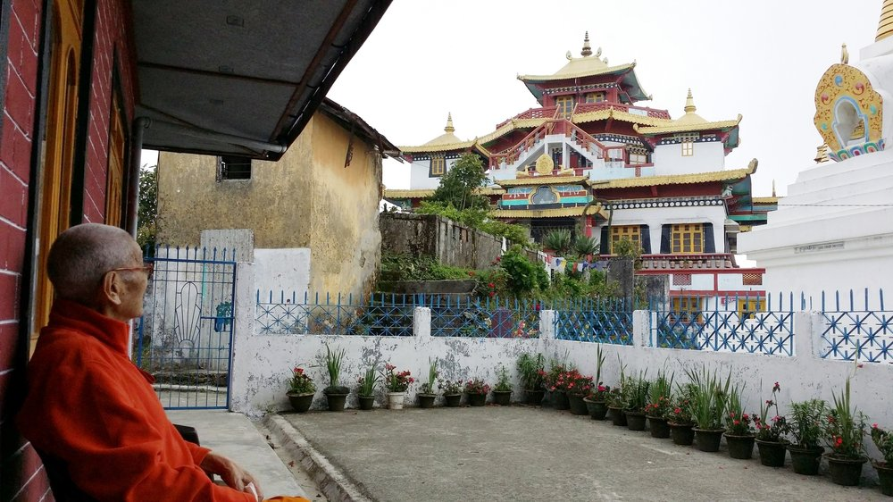Lama Gonpo in front of Zangdok Palri Monastery, Kalimpong, India, 2015