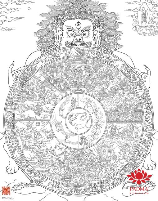 Wheel of Life Sketch by Pema Namdol Thaye
