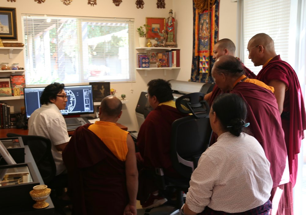 HH Dudjom Yangsi Rinpoche visiting Pema Namdol at Padma Studios, with Mayamla, Venerable Khenpo's, and Lama Sonam