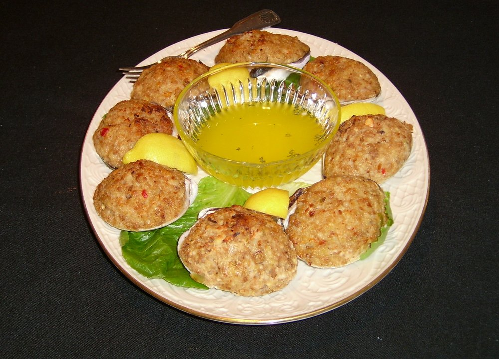 Our famous half-shell quahogs serving suggestion