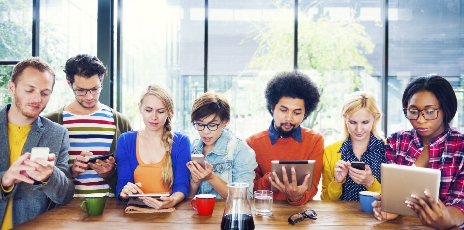 millenials busy with gadgets