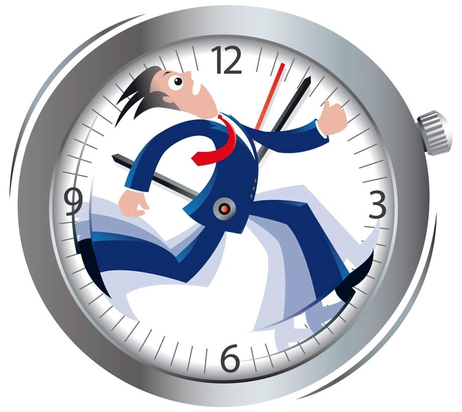 running man inside a clock