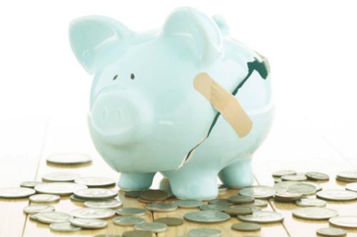 broken piggy bank coins
