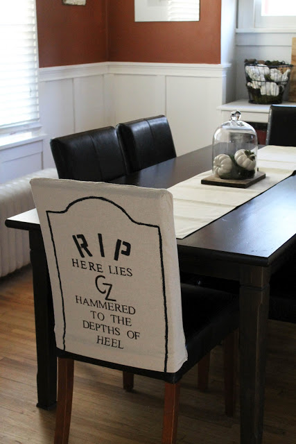 Tremendous Diy Halloween Themed Gravestone Dining Room Chair Covers Caraccident5 Cool Chair Designs And Ideas Caraccident5Info