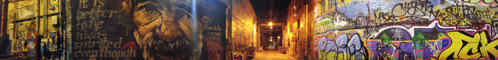"Pano photo of  ""Graffiti Alley"" in downtown Rapid City ."