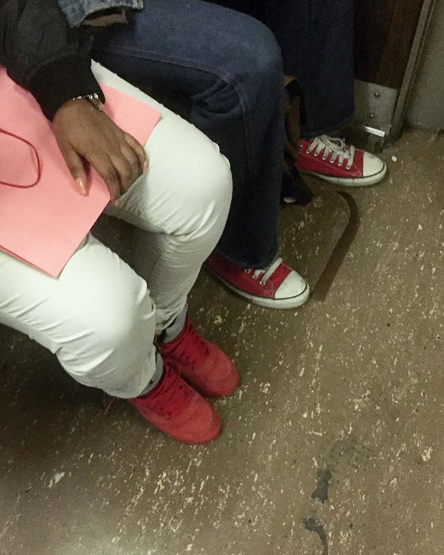 Millennial pink | C Train | by @emmapratte  #pink #subway #sneakers
