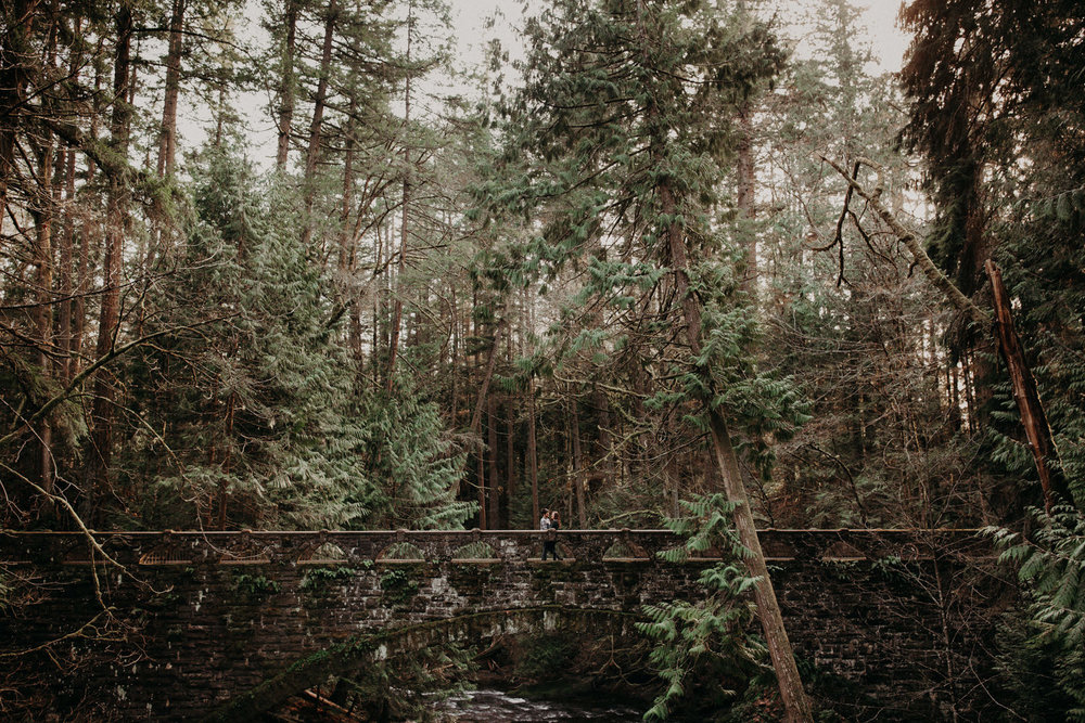 An photograph of an engaged couple standing on the bridge at Whatcom Falls, Bellingham, WA.