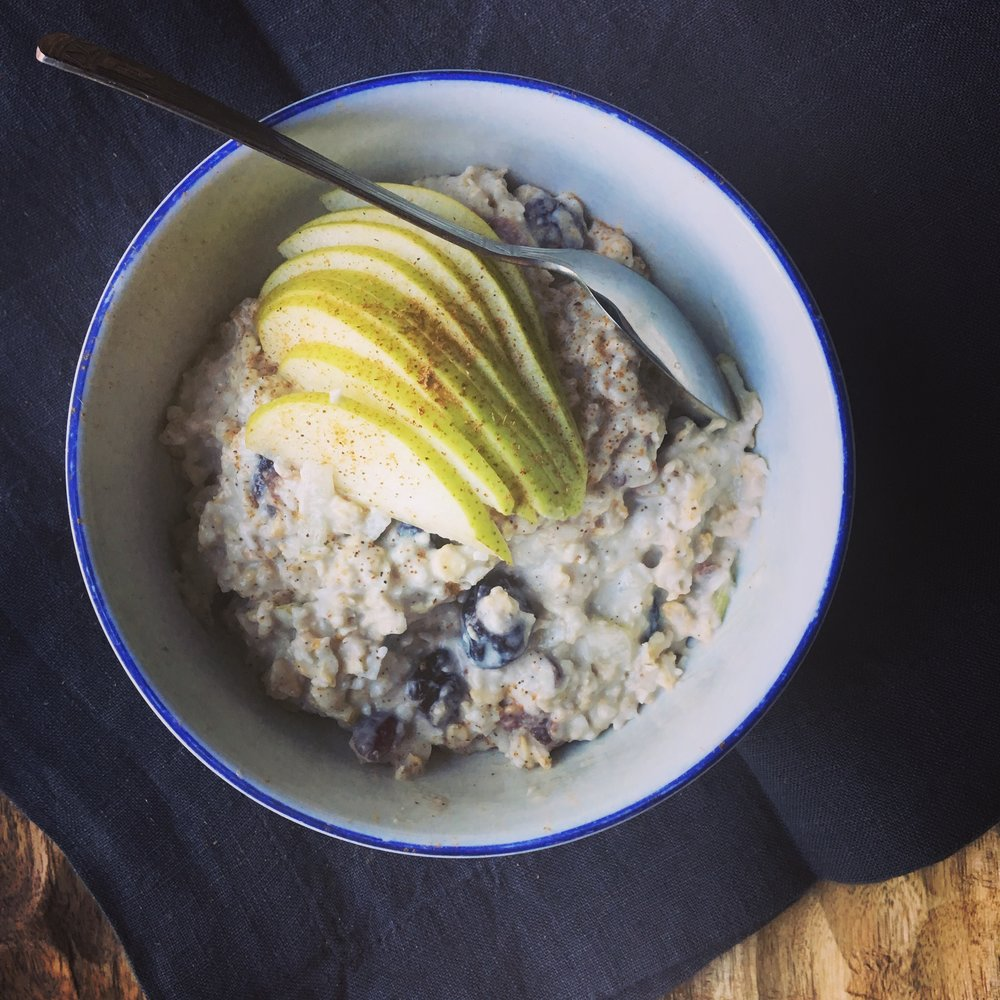 coconut & pear bircher