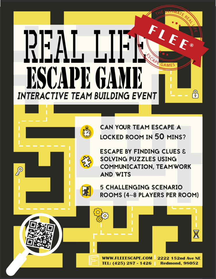 team event poster a4 png. DREAM TRAVELER  Redmond    FLEE   Escape Room Seattle   Redmond