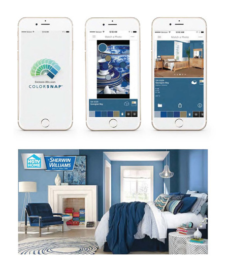 "Collaboration with HGTV show ""Get Color!""   ""Get Color!"" designer Jane Lockhart uses homeowners' favorite items, things they love. Sherwin-Williams generates their obsessions with their unique app, ColorSnap, into unique color palettes to match homewoners' collections with our obsession."