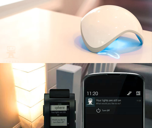 The Ninja Sphere         is a home automation systems that       couples wireless environmental sensors with its software to remotely switch lights on or off.