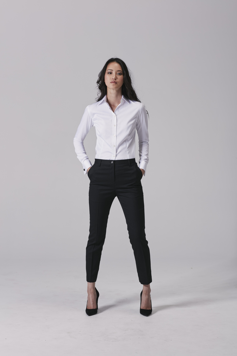 Womens tuxedo shirt Womens office pants.jpg