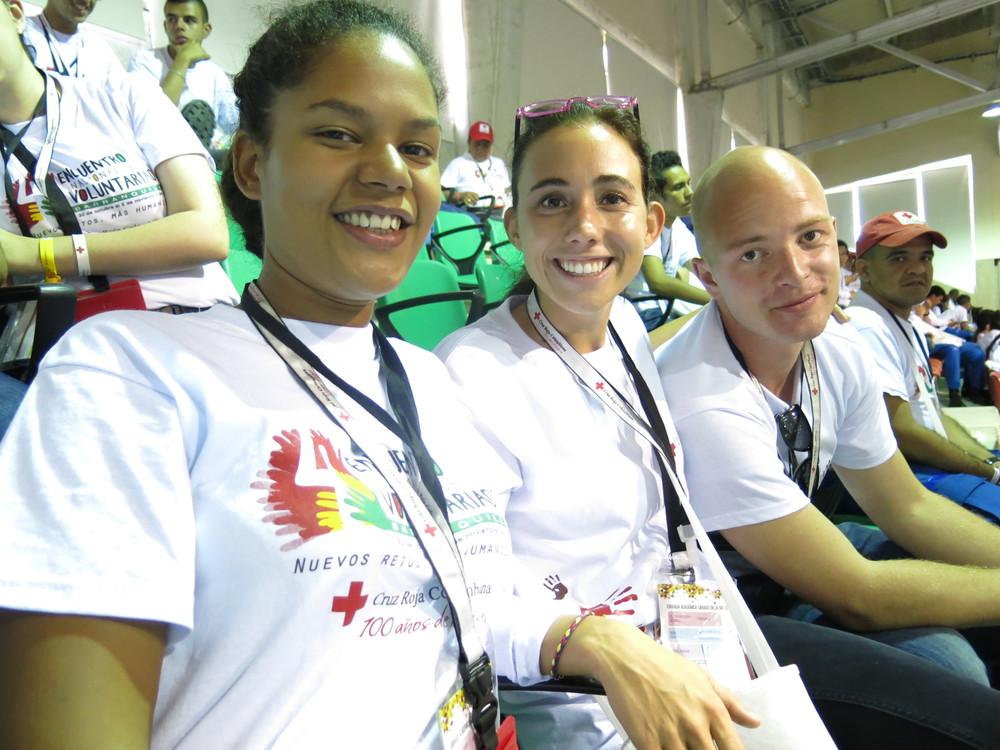 Sara con sus co-delegados que trabajan en Cúcuta en Norte Santander. Sara with her co-delegates, Fredrik and Christina, who work in Cúcuta, North Sandander.