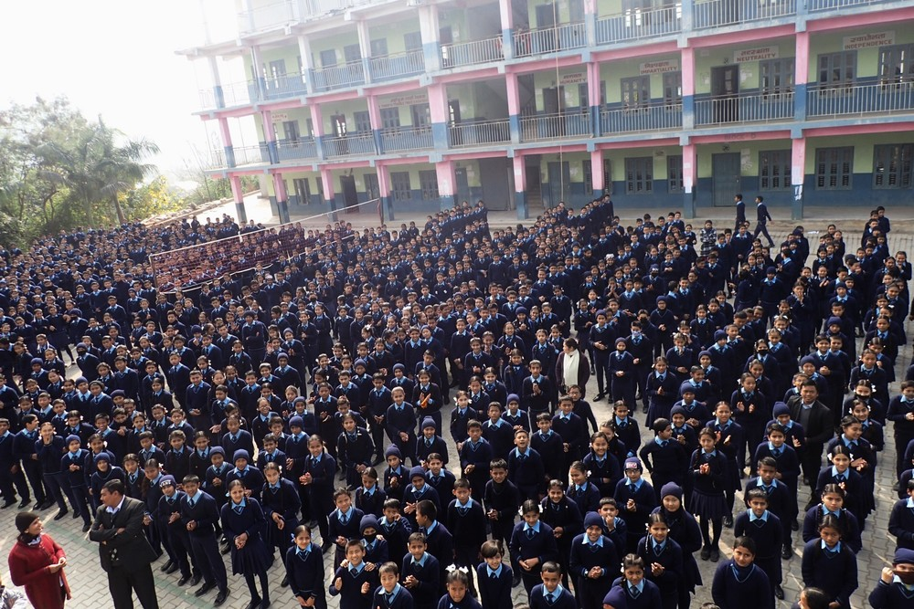 All the students of Satyawati Higher Secondary School singing the national anthem and giving us an overwhelming welcome.