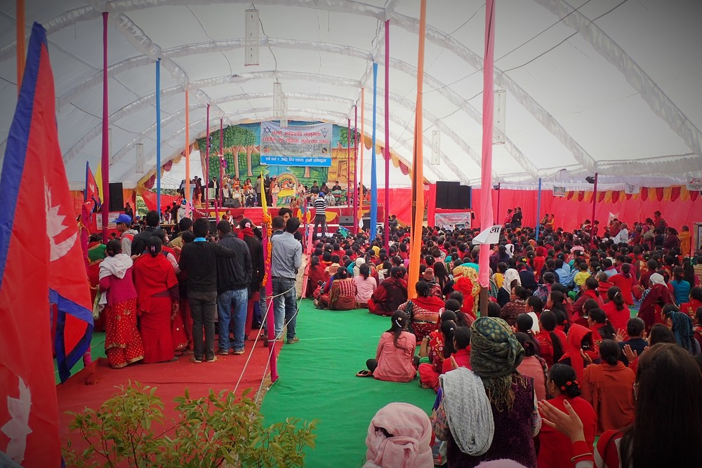 A large tent in the occasion of a religious karyakram at Bhanu Bhakta College