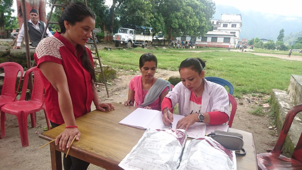 At a blood donation event in Damauli in occasion to their Constitution day on the 19th of September. From left: Ms. Jasuda Thapa, Ms. Rupa Sigdel and Rama Thapa.