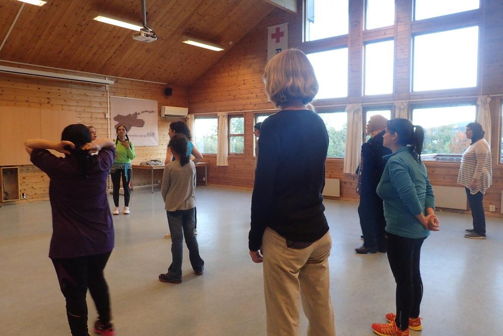Attending Zumba session held by Skien Røde Kors Internsajonale Kvinnegruppe