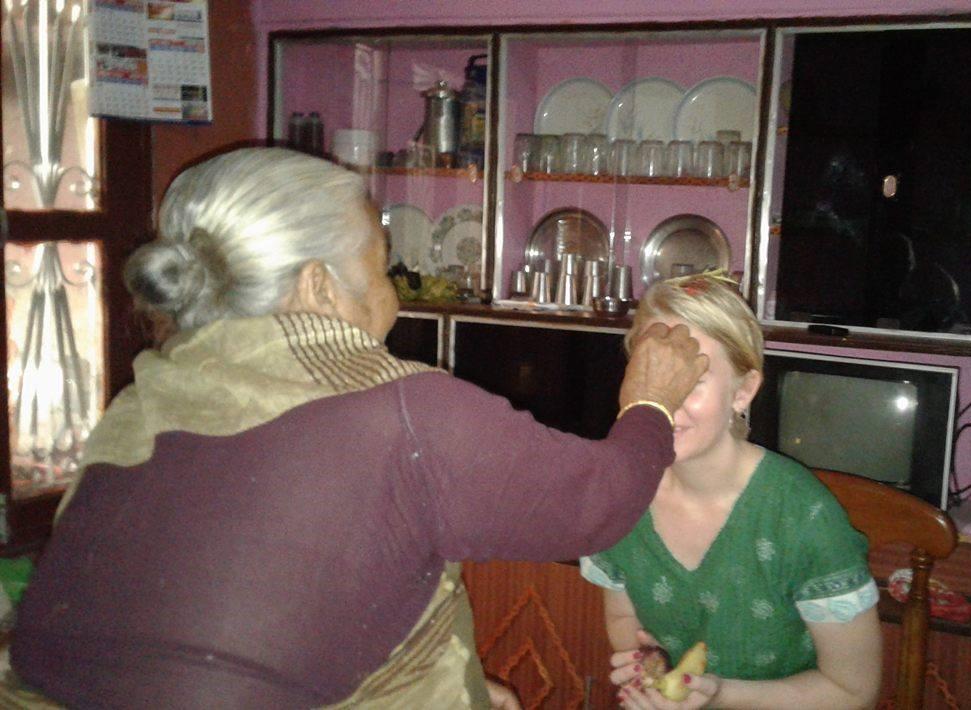 Kathrine recieving Tika in Damauli