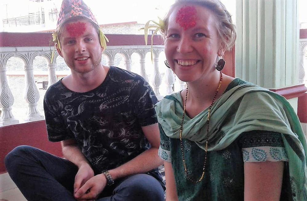 Getting Tika during Dashain Festival.
