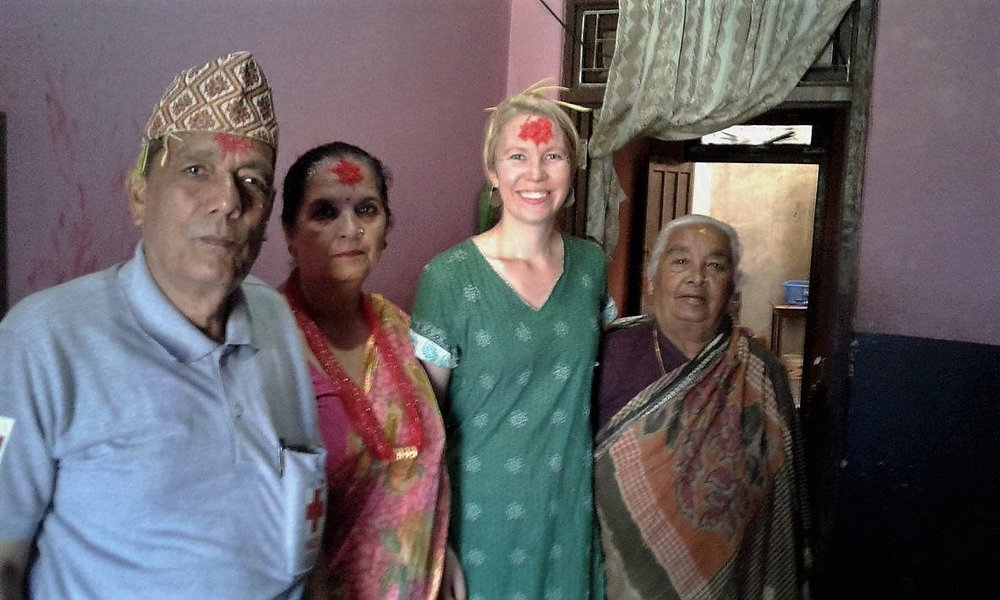 Kathrine O. Flaate with the Language Teachers family in Damauli, Nepal.