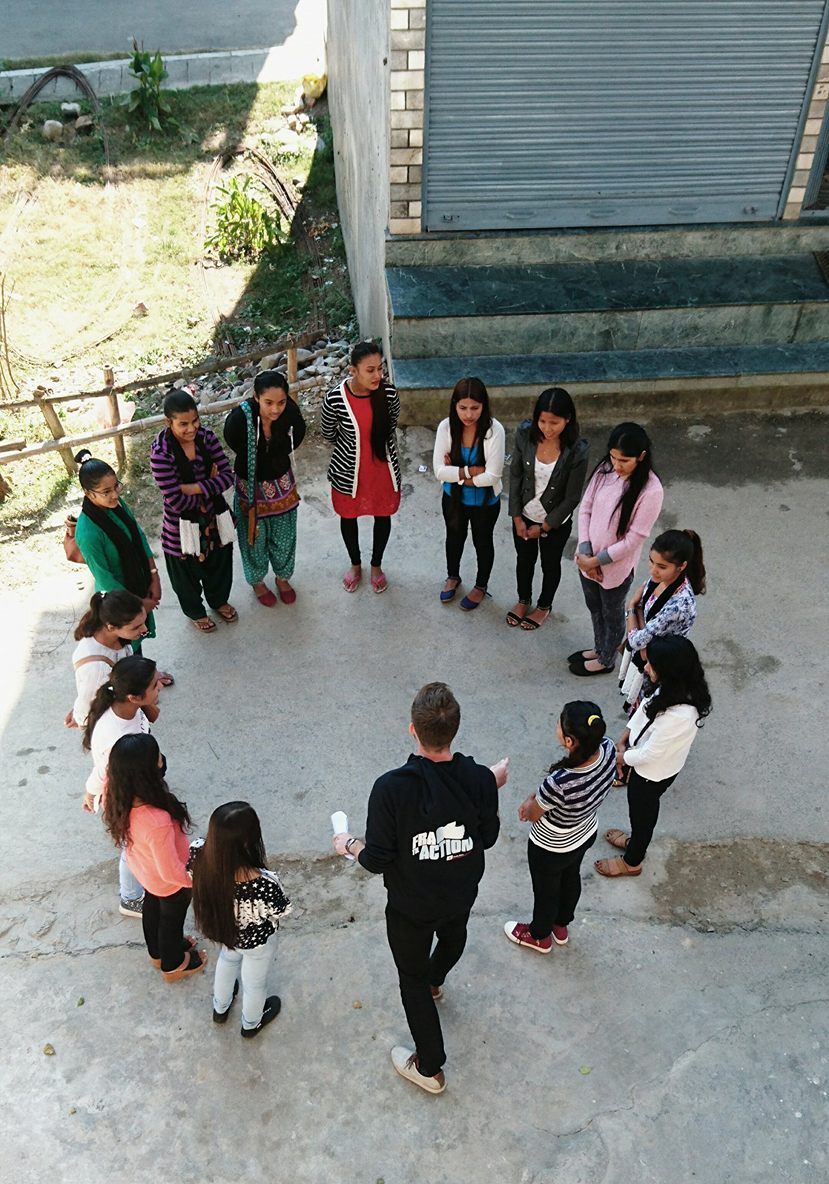 Mr. Ola Opdal leading a game with Red Cross Youth volunteers participating in a District Level training on Planning, Budget and Report-writing on November 12. 2016. Photo: Kathrine O.Flaate