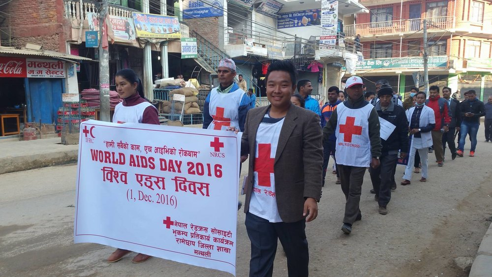 Awareness Campaign organized by Ramechapp District Chapter, Nepal Red Cross Society on World AIDS Day, 2016