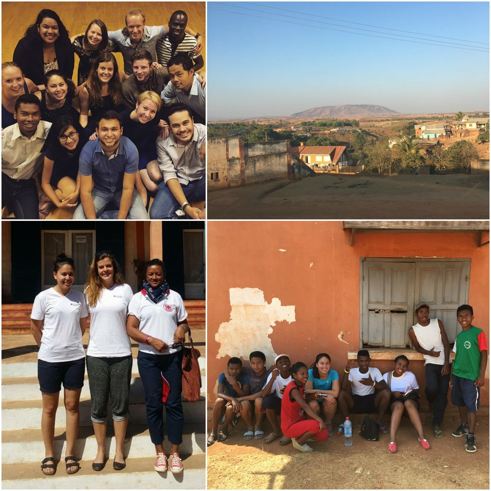 Top left: All Youth Delegates 2016/2017 before departure to host Districts. Top right: View from our office in Tsiroanomandidy, Bongolava Region. Bottom left: Maria and Kristina together with the Regional Red Cross  president in Bongolava. Bottom right: Maria and some of the youth volunteers relaxing after playing basketball.
