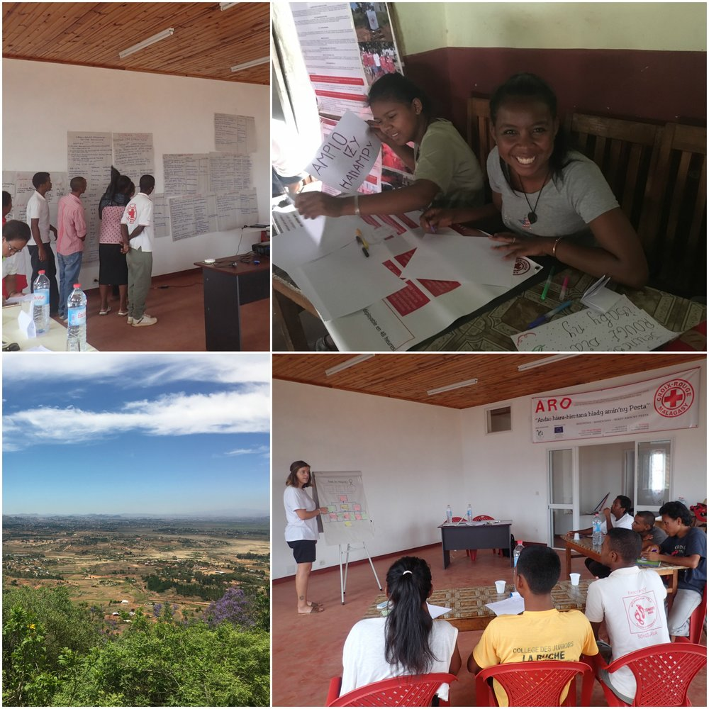 Top left: A Branch Organsational Capacity Assesment was conducted in Bongolava Region. Top right: Preparations for the recruitment drive outside the City Hall. Bottom left: View of Ambihomanga, 1 hour north of Antananarivo. Bottom right: Workshop on planning and needs assement.