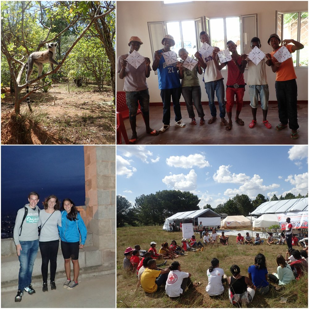 "Top left: A ring-tailed lemur in the Lemur park, Antananarivo. Top right: The youth volunteers made ""snow flakes"" at the christmas workshop. Bottom left: Visiting the Queens Palace in Antananarivo. Bottom right: Non-violent communication workshop at the national volunteer camp."