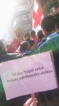 Red Cross Youth Tanahun walks the streets of Damauli to raise awareness about Earthquake Safety. Photo by Kathrine Olsen Flaate.