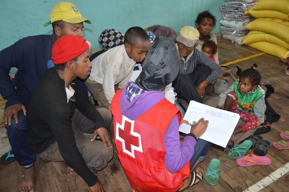 The relief and psychosocial support team of the Malagasy Red Cross with evacuated victims in Ampefiloha.  Photo credit:  Malagasy Red Cross