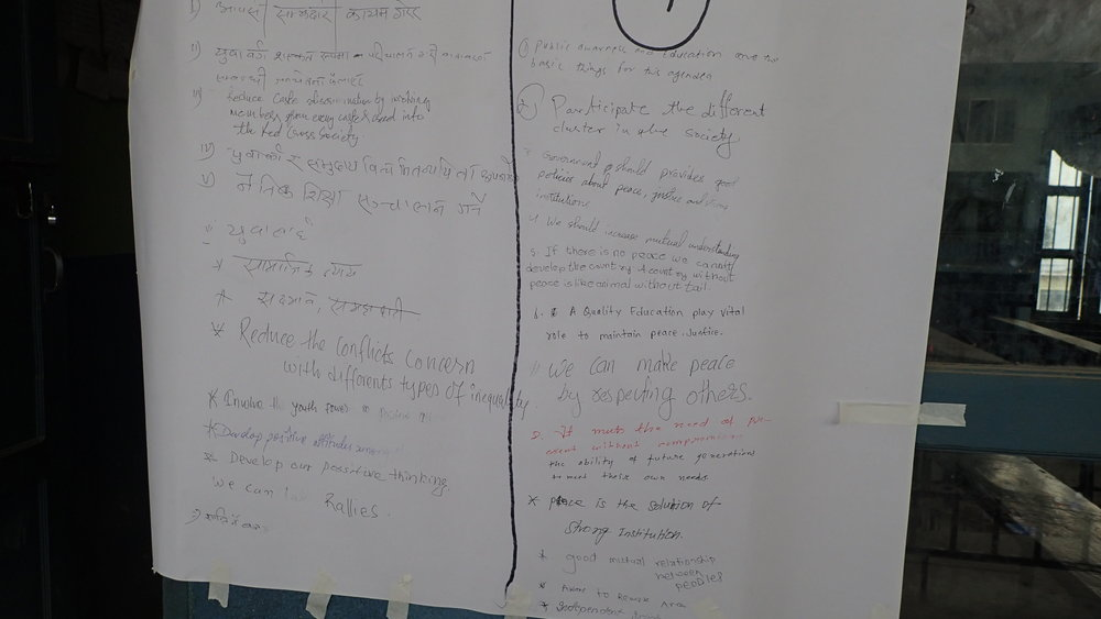 Ideas from the 160 participants on goal number 16 Peace, justice and strong institutions