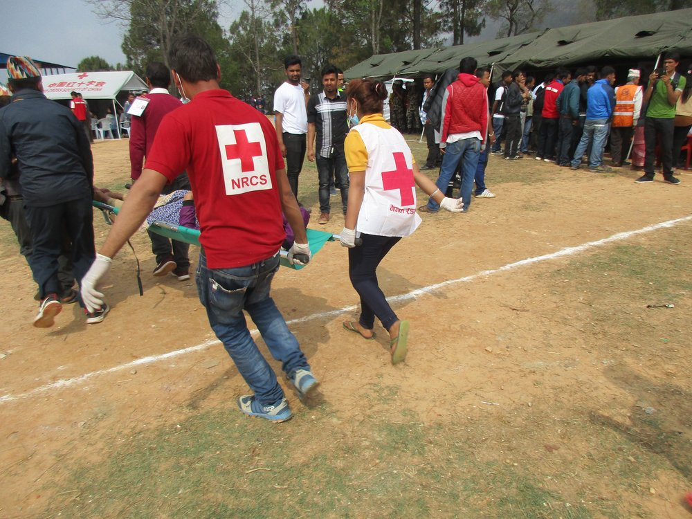 Eartquake simulation, Chautara, Nepal. Photo: Ola Opdal