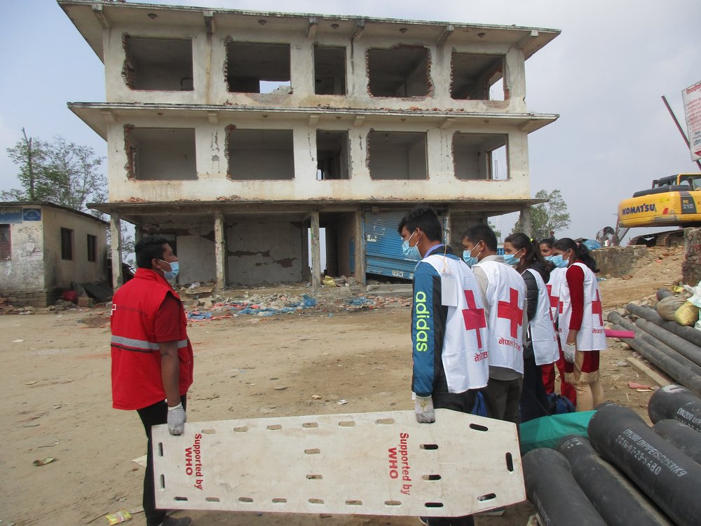 Red Cross First Aiders ready to assist during Earthquake Simulation in Chautara, Sindhupalchok. Photo by Kathrine Flaate