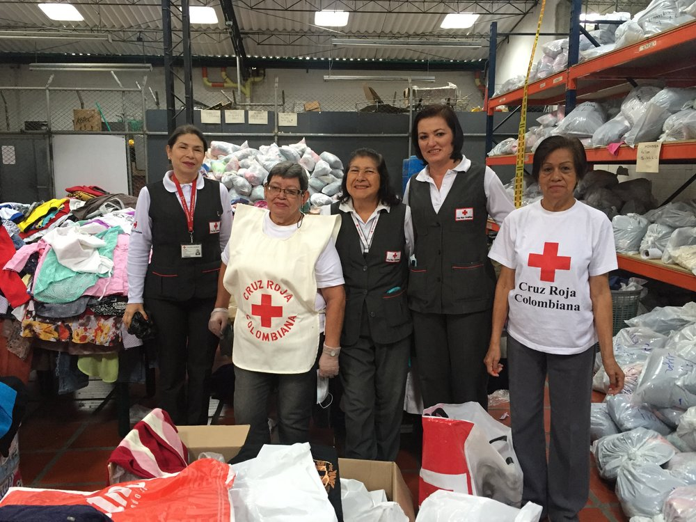 Some of the heroes of the group Grey Ladies within Colombian Red Cross, who have helped with the emergency in Manizales: From left; Luz Dary Henao, Maria Sonia Cardona, Idalba Gonzales, Maria del Pilar Llano, and Cruceny Rojas.