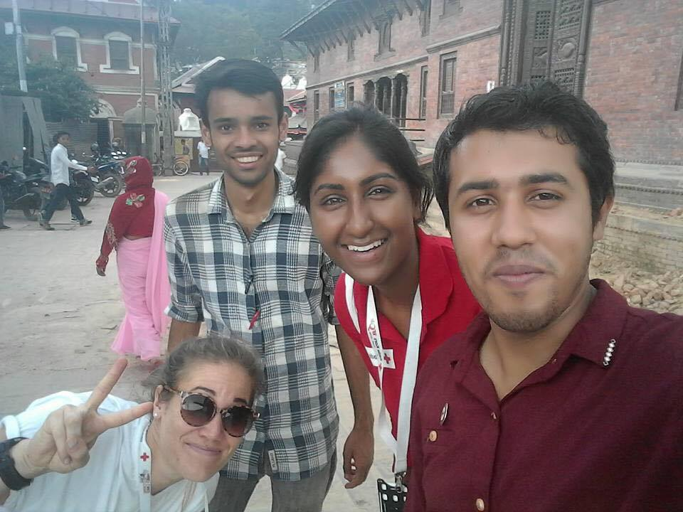 Photo by: Nepal Red Cross Youth President Kunal Mishra at the Pashupatinath temple.  From the left: Camilla Rodø, Suhan Khatiwada, Thanuya Sivanantharajah and Kunal Mishra