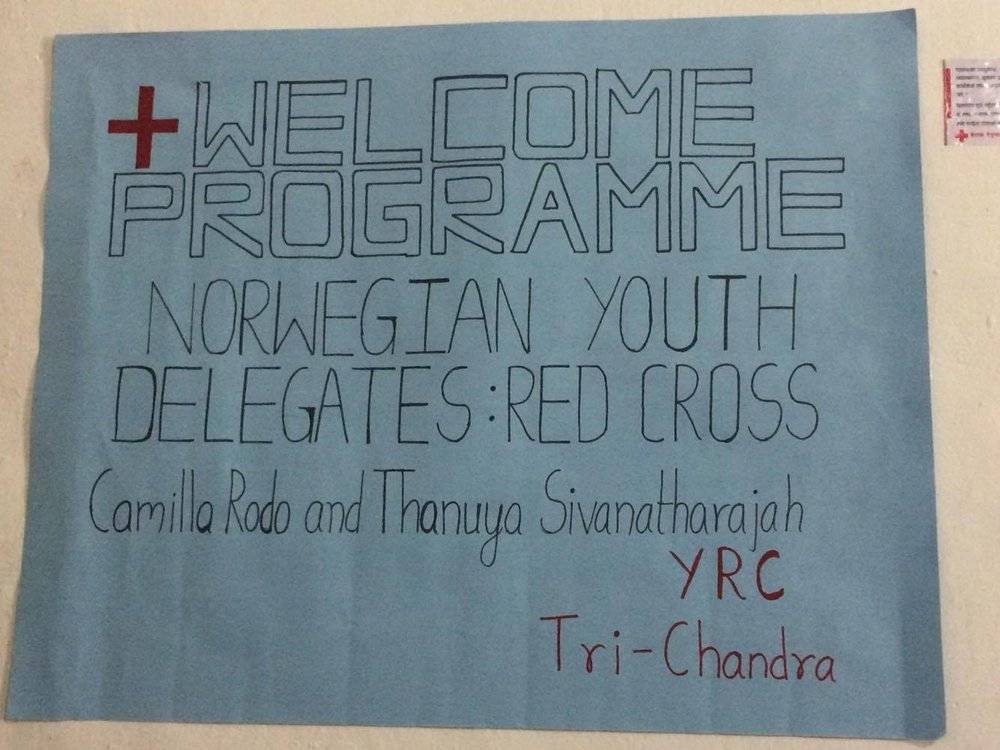 The Tri-Chandra Red Cross Youth in Kathmandu had made this for us the first day of gathering.