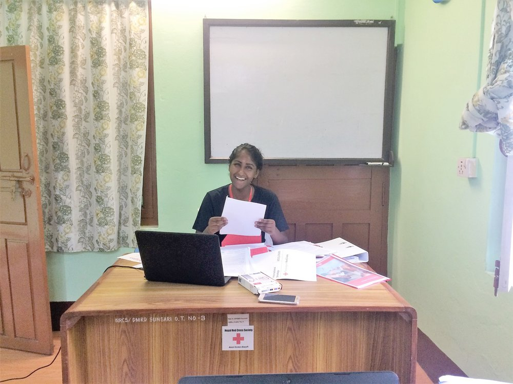 Thanuya Sivananharajah at our Red Cross office