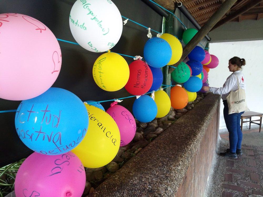 Una actividad para conciencia del estrés. Los globos representan maneras de el estrés. Foto de: Sofie Sundström Bele.