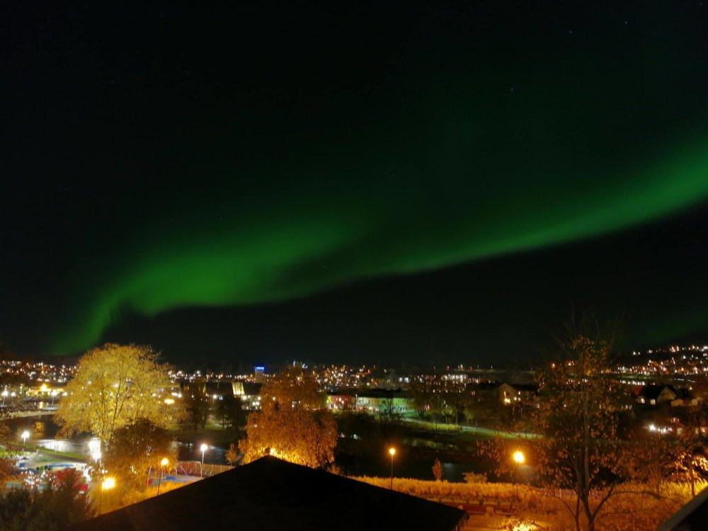 Northern lights seen from Steinkjer. Photo by: Mohamed Abud