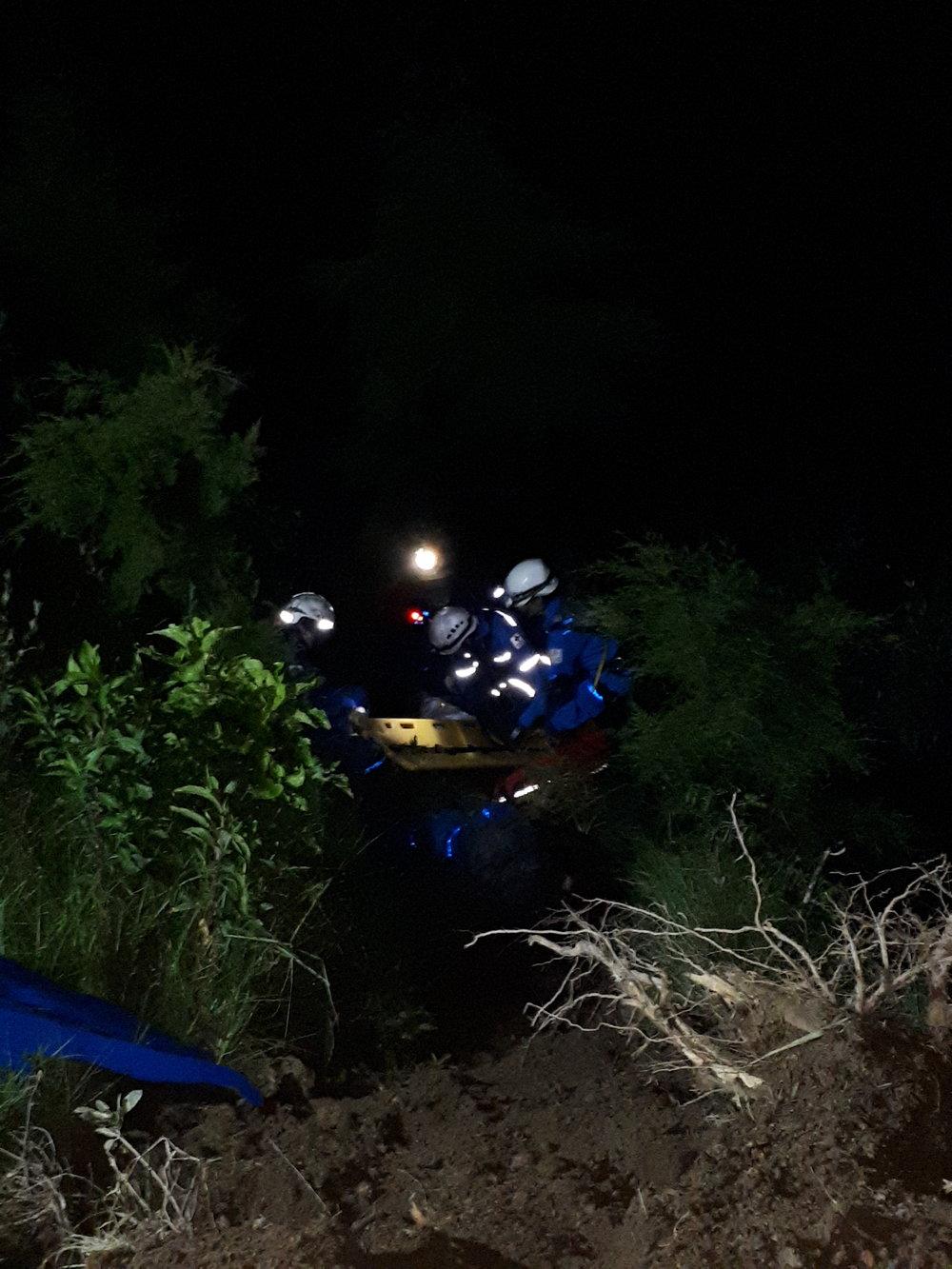 Rescate de pacientes en el lado de la montaña. Foto de: Kristine Nordås Toska.