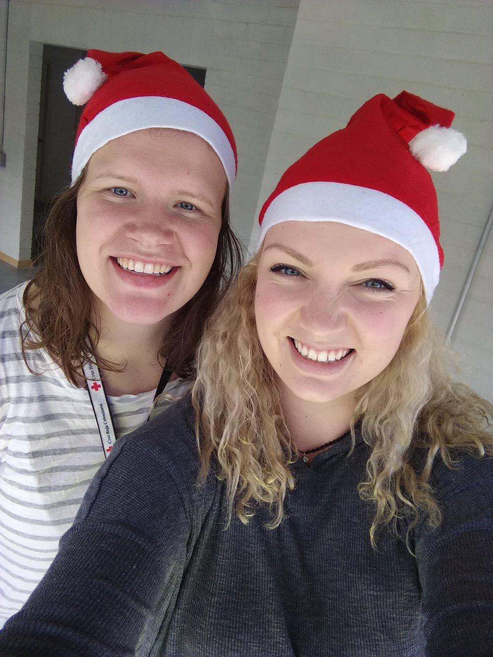 Selfie de navidad, Kristine Nordås Toska y Sofie Sundström Bele.  Selfie por: Sofie S. Bele