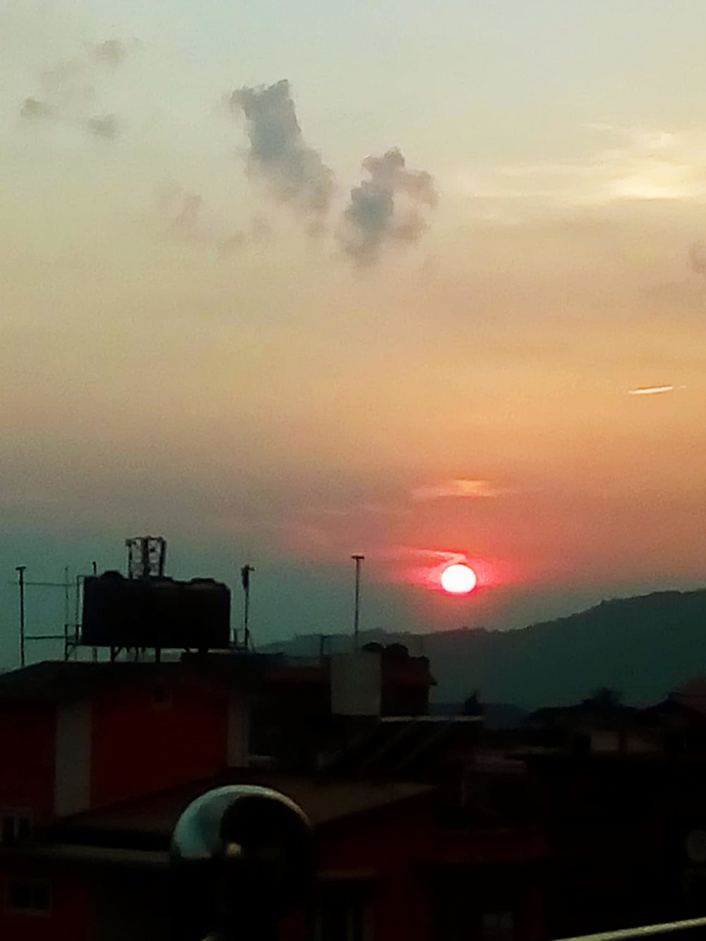 Sunset from our balcony in Dharan